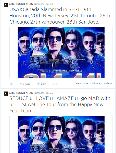 SRK tweets about SLAM- world tour for his movoe 'Happy New Year'