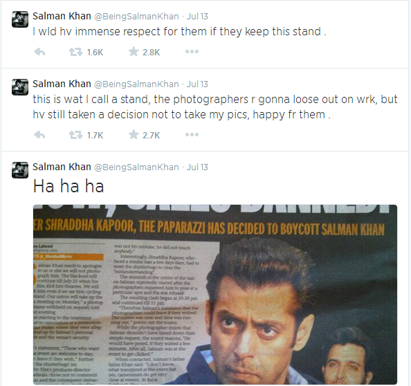Salman Khan reacts on Photography issue