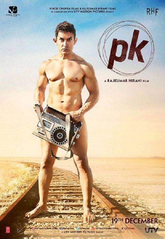 PK movie details - Aamir Khan's PK nude  poster
