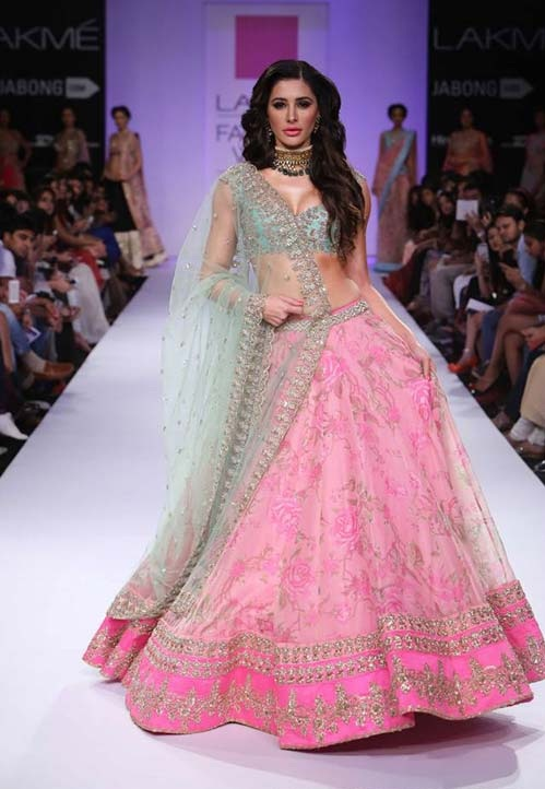 Narghis Fakhri walks for designer Anushree Reddy