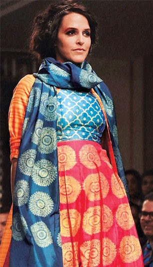 Neha Dhupia walks for designer Swati Vijaivargie
