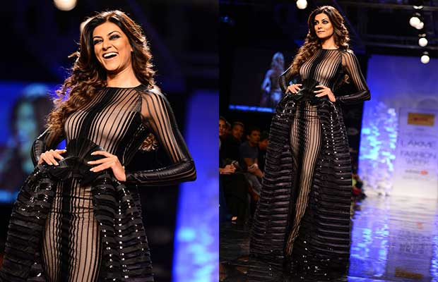Sushmita Sen wears a sheer black outfit and walked the ramp for designer Amit Aggarwal at Lakme Fashion Week 2014