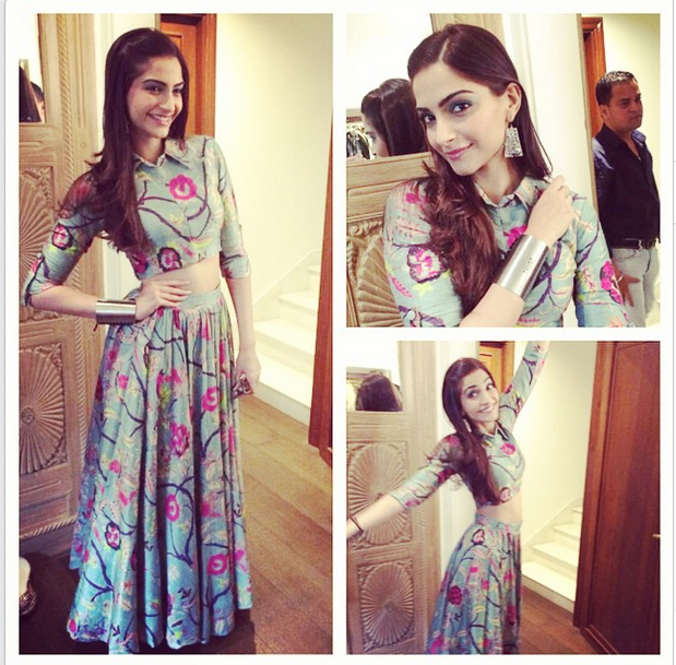 Sonam in crop top and skirt designed by Payal Singhal