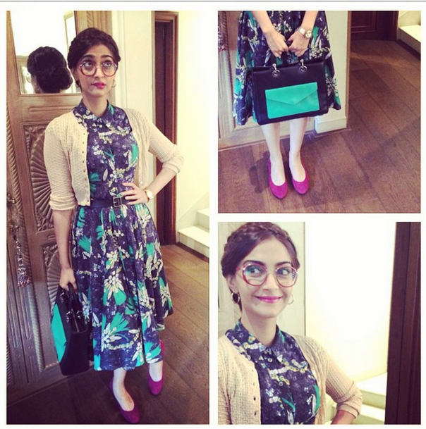 Sonam in a Dolce & Gabbana floral dress