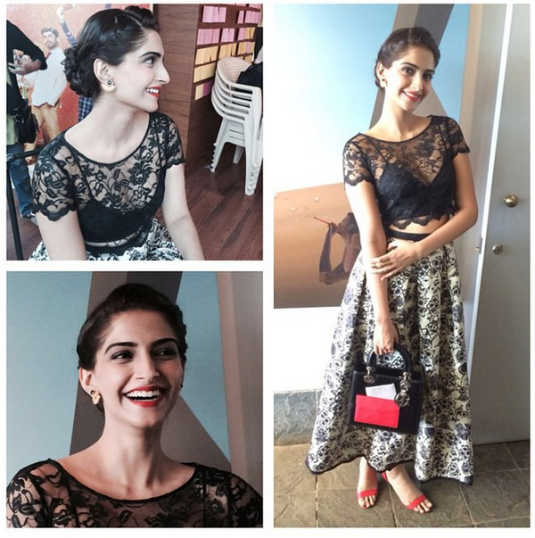 Sonam in a lacy Sonal Kalra Ahuja dress
