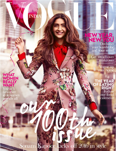 Sonam Kapoor on 100th cover issue | January 2016 Vogue India