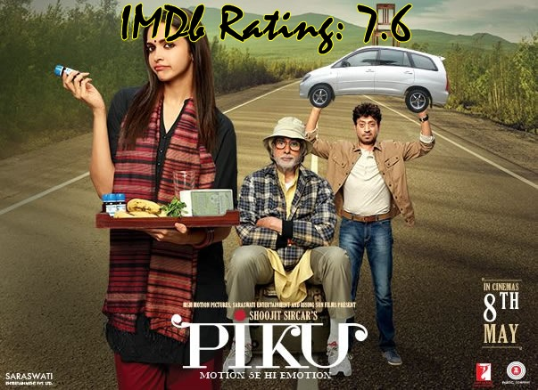 Top 10 IMDb Rated Movies of Deepika Padukone - Piku