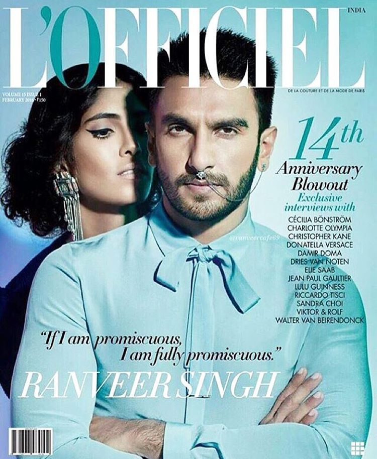 Ranveer Singh is on the cover of L'Officiel's Febraury Issue but with a twist!