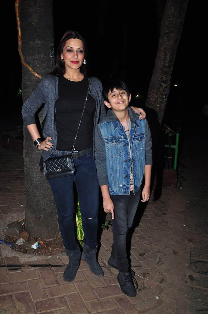 Sonali Bendre and her son Ranveer at an event