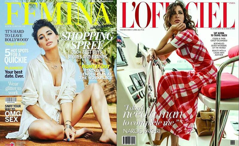 Nargis Fakhri scorches up the temperature in Femina India and L'Officiel India Cover