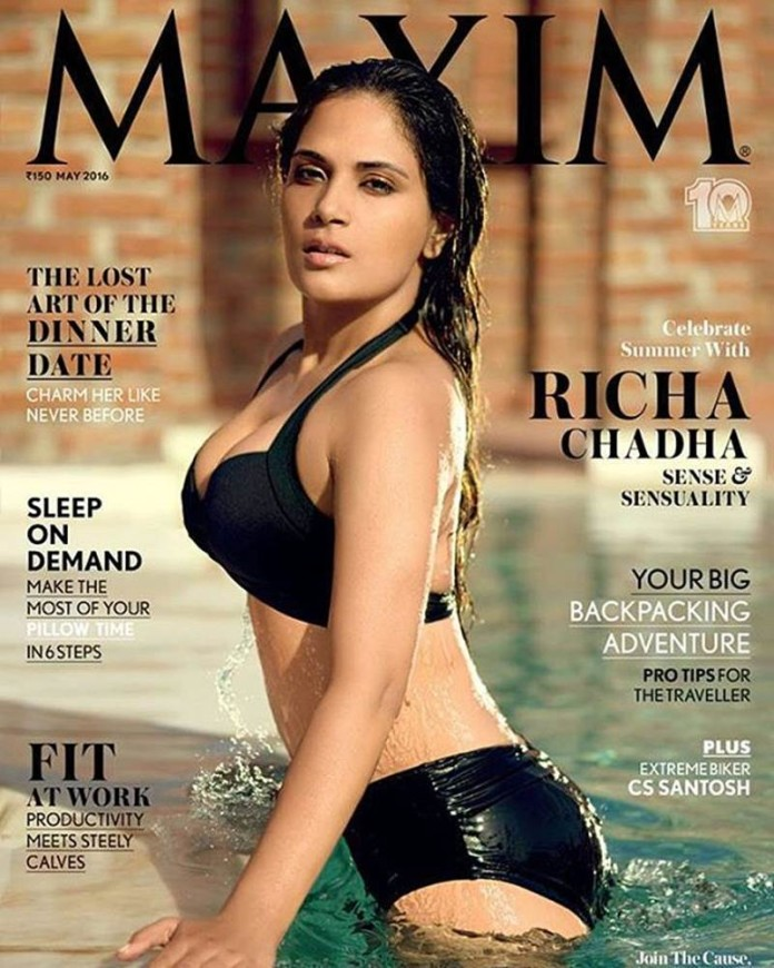Richa Chadha steams up the water in Maxim India Cover!