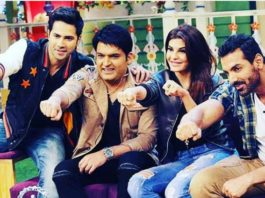 Varun, John, Jacqueline and Kapil Sharma on sets of TKSS