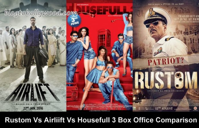 Rustom vs Airlift Vs Housefull 3 Box Office Collection Comparison
