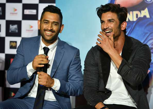 Sushant Singh Rajput and MS Dhoni at trailer launch