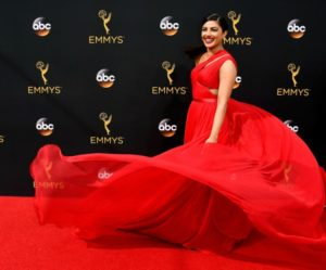 Priyanka dazzled in a crimson red Jason Wu dress for Emmys