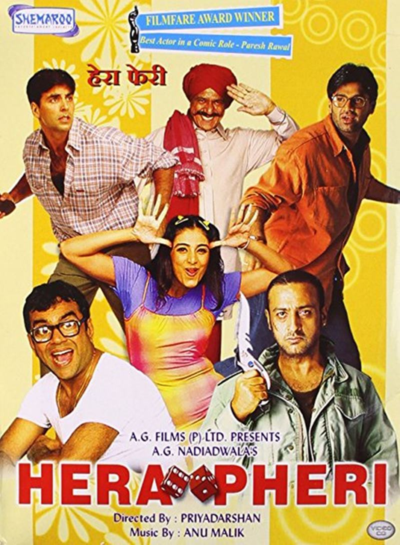 Top 10 Bollywood Movies based on South Indian Movies- Hera Pheri