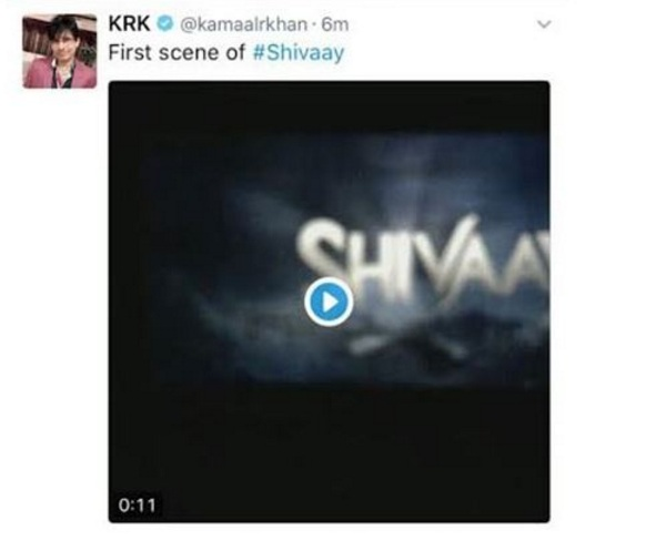 Krk released a video clip which was the opening scene of 'shivaay' but deletd later when it went viral