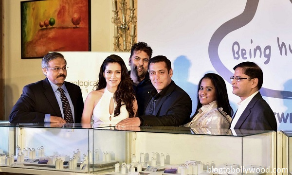 Salman Khan with Waluscha De Sousa and Arpita Khan Sharma