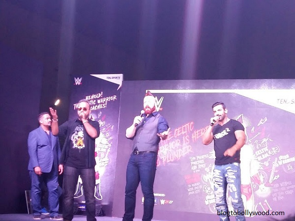 Sheamus and John Abraham at an event in Mumbai yesterday