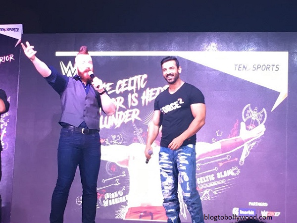 John Abraham and Sheamus at an event held in Mumbai yesterday