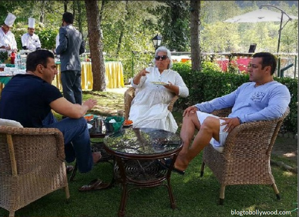 Salman Khan having breakfast with brother Sohail Khan and Bina Kak in Manali on the sets of 'Tubelight'