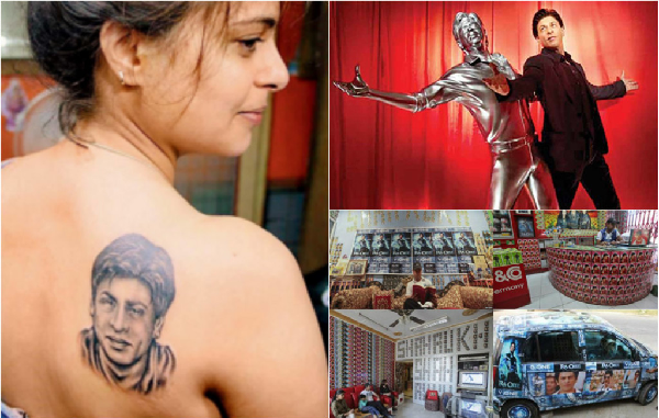 Girl gets tattooed SRK ; A statue made in an SRK signature style; A fan of SRK has filled his shop with posters of SRK