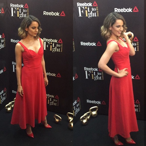 Kangana looks stunning in a bright red dress at the Reebok Fit to Fight event in Delhi