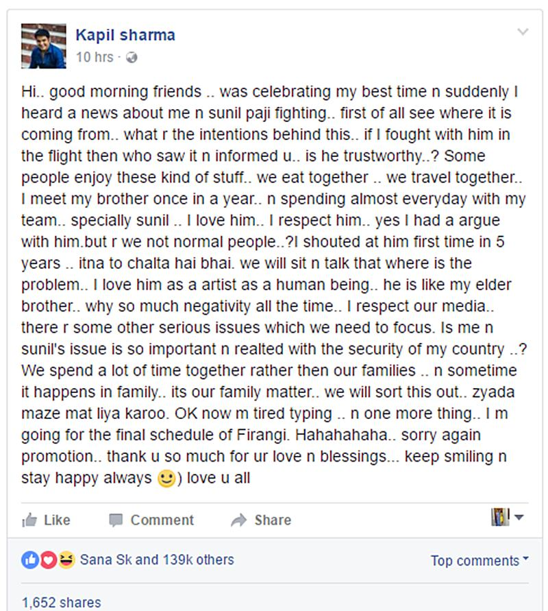 Kapil Sharma-Sunil Grover fight is not going to end so easily, Kapil opens up about it- KS FB ppst