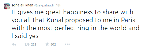 Soha tweets about her engagement with Kunal Khemu