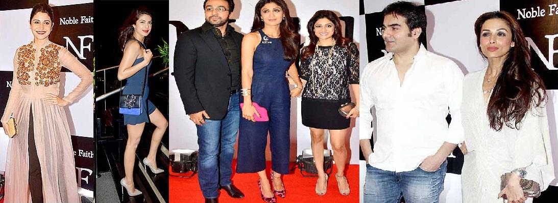 Anushka Sharma, Priyanka Chopra, Narghis Fakhri, Raj Kundra with Shilpa and Shamita Shetty, Arbaaz Khan with Malaika Arora Khan at the bash