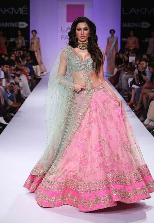 Narghis Fakhri walks for designer Anushree Reddy
