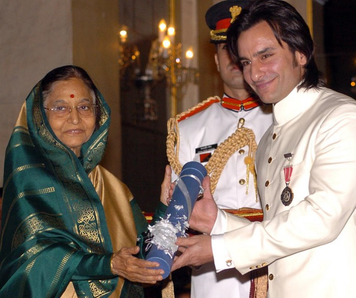 Saif Ali Khan receiving Padma Shri