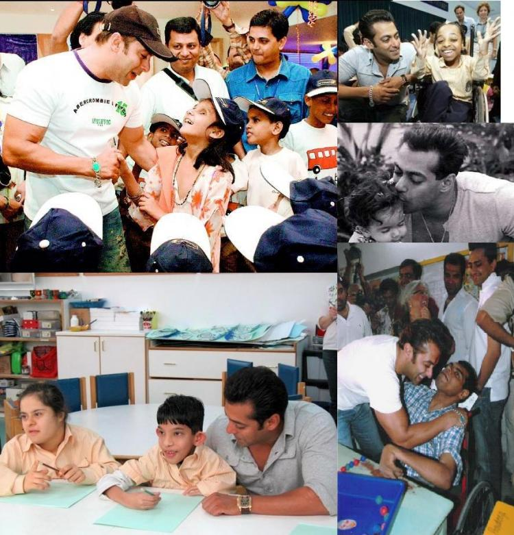 Salman visiting children at the NGOs