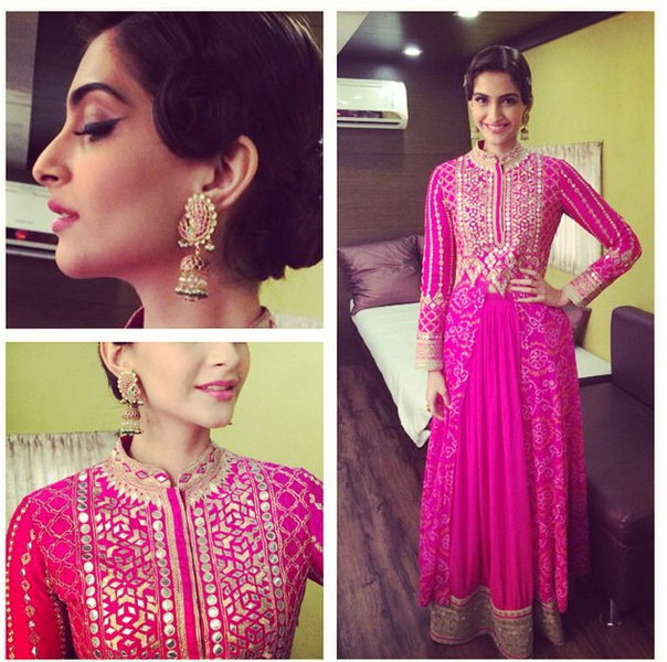 Sonam in a hot pink Anita Dongre traditional outfit