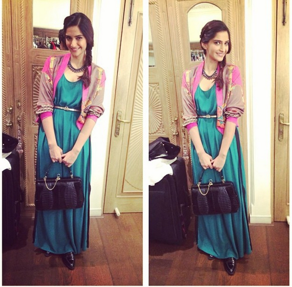 Sonam in a Stefanel dress