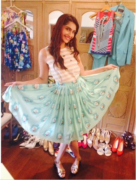 Sonam in a Zara top, Nisha Sainani skirt and RIver Island shoes