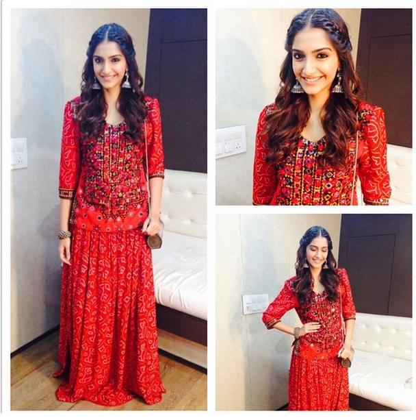 Sonam wears a red vintage dress designed by her mom