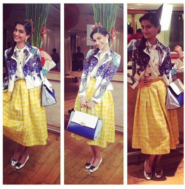 Sonam looks pretty in River Island shirt and Pankaj & Nidhi skirt