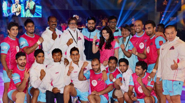 Abhishek Bachchan parties with Jaipur Pink Panthers team