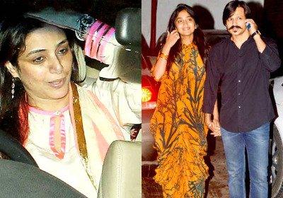 Tabu Arrives in car, Couple Vivek-Priyanka Oberoi pose for the cameras