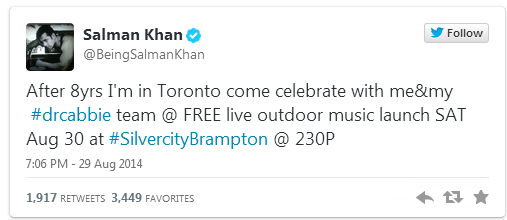 Salman tweets about his excitement for the promotion of Dr.Cabbie in Toronto
