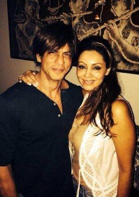 Gauri Khan and Shah Rukh Khan pose for the camera at the birthday bash