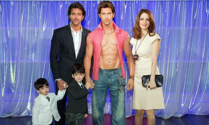 Bollywood actor Hrithik Roshan with their kids at Tussads