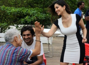 Sunny Leone enjoying some candid light hearted moments with Mr. Shah during Jackpot shoot in Goa