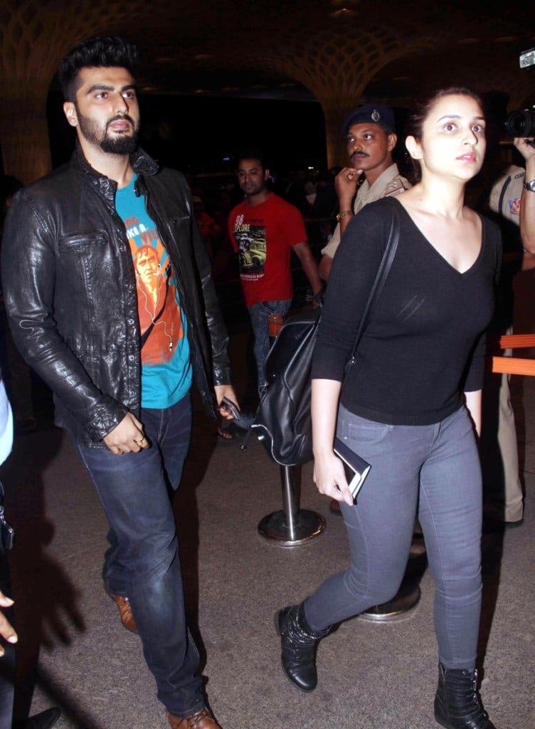 Parineeti Chopra and Arjun Kapoor leaving for IIFA 2015
