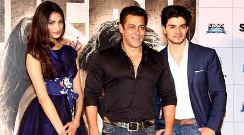 Why is 'Hero' the perfect debut for Sooraj Pancholi and Athiya Shetty?-Salman, Sooraj and Athiya at a promotional event