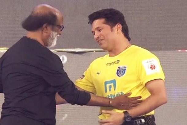 Sachin Tendulkar with Rajnikanth at ISL 2015