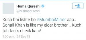 Huma's tweet