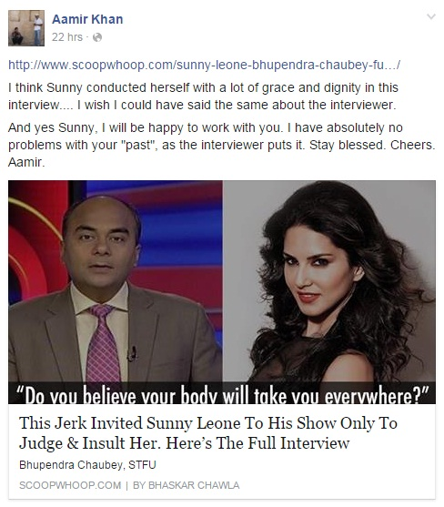 Sunny Leone's demeaning interview and Aamir Khan's reaction to it!