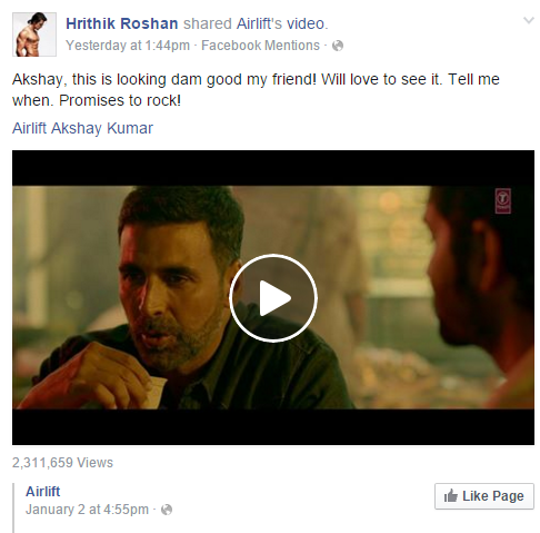 Hrithik Roshan impressed by the trailer of Akshay Kumar's Airlift
